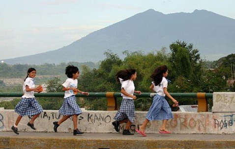 Filipina Schoolgirls Running