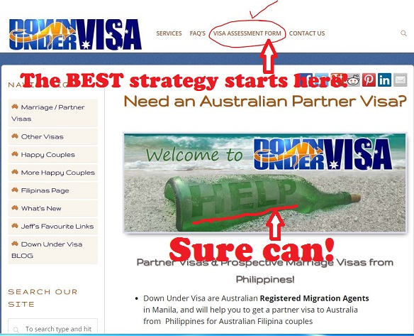 Use the free online visa assessment form on the Down Under Visa website as the best strategy to migration to Australia with a partner visa