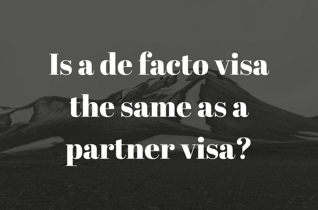 Partner visa Australia – Is a de facto visa the same as a partner visa?