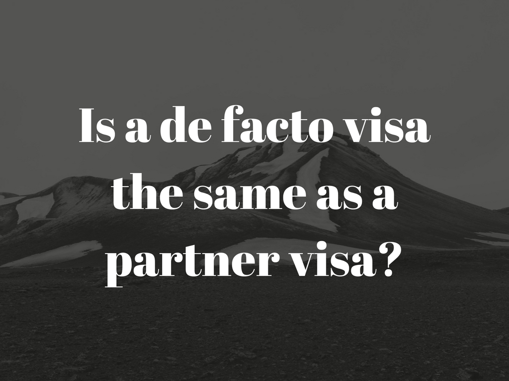 Is a de facto visa the same as a partner visa from Philippines to Australia