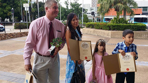 Proud Family Displaying Their Citizenship By Descent