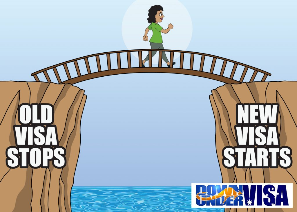 A bridging visa is a bridge between an expiring visa and an undecided new visa application